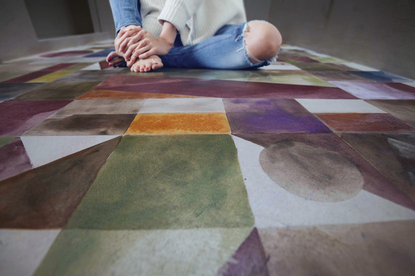 Grazia Lombardi; pavimenti dipinti; pavimento dipinto; acquerelli; pastelli secchi; pavimento geometrico; anno 2014
