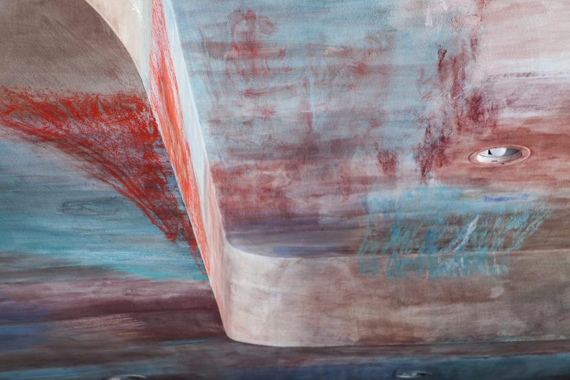 Grazia Lombardi: soffitto dipinto; calce; pastelli secchi; acquerelli; pittura astratta