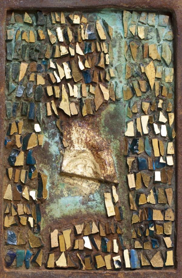 Grazia Lombardi; mosaici; SPAZIO SOTTILE - Mosaico in tessere oro, rame ossidato e cornice in foglia oro