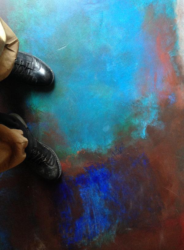 Pavimenti dipinti di Grazia Lombardi. Tappeto dipinto. Dettaglio