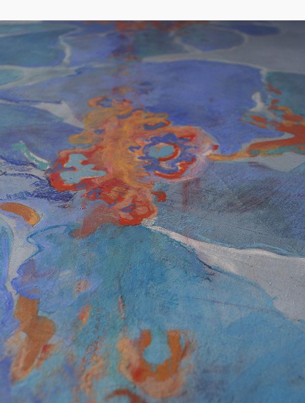 BAGNO DIPINTO - Rivestimento in resina a base calce, dipinta con acquerelli e pastelli scechi